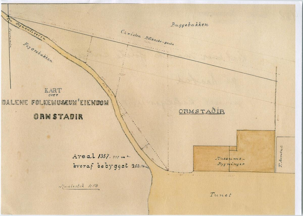 Kart over Dalane Folkemuseums første anlegg