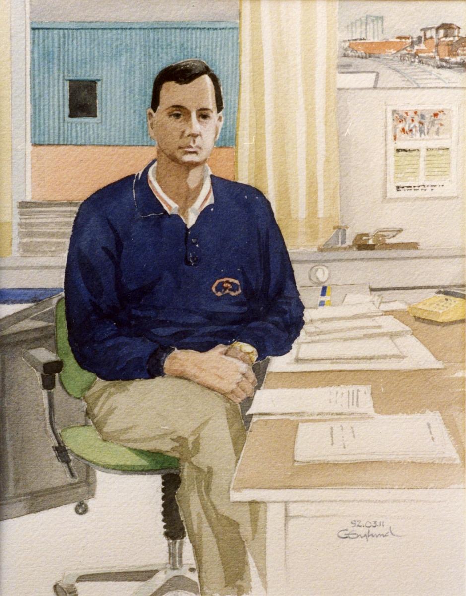 Kaj Larsson. 1992.03.11. AGEVE. Georg Englunds akvareller av/till arbetarna i Gävle när AGEVE flyttade 1993. En utställning i Paris 1993. Akvarellerna ställdes även ut i lunchrummet på AGEVE.