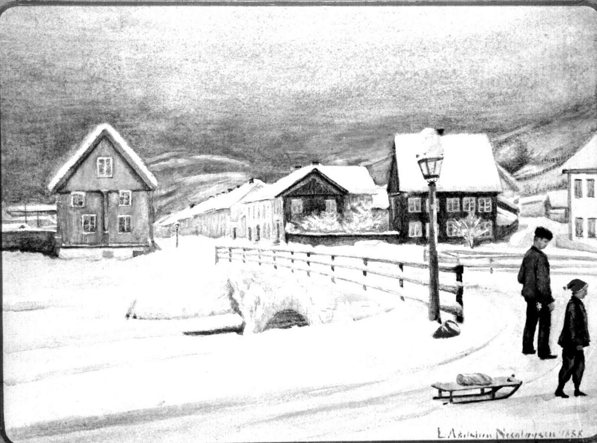 Repro: Foto av maleri av Lilletorget - to gutter, den ene med kjelke, vinterbilde.