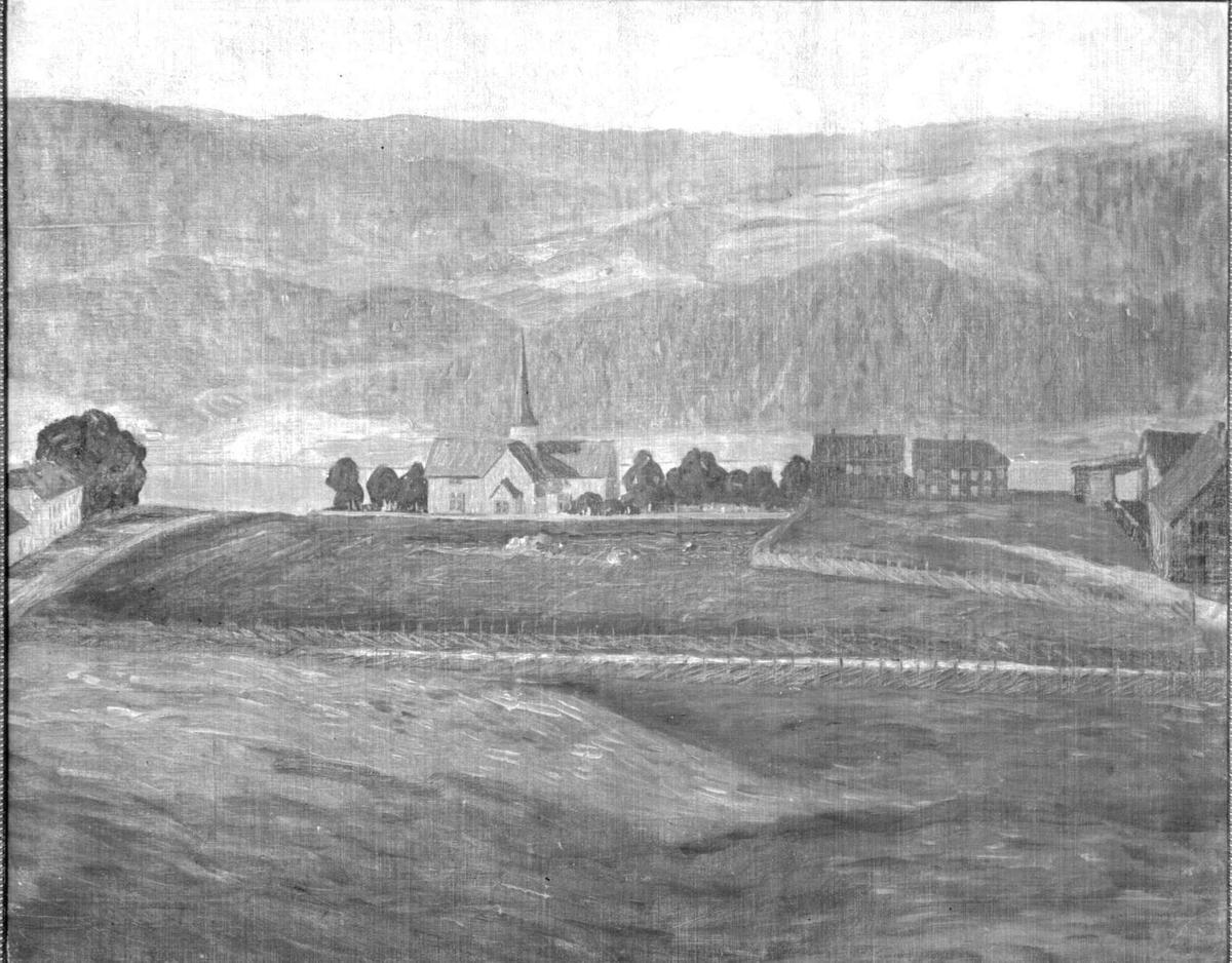 Repro: Tegning eller maleri av Lillehammer kirke.
