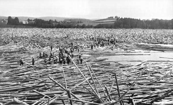 Foto av store mengder tømmer som fullstendig dekker elva, og mennesker som jobber på tømmeret.. Foto/Photo
