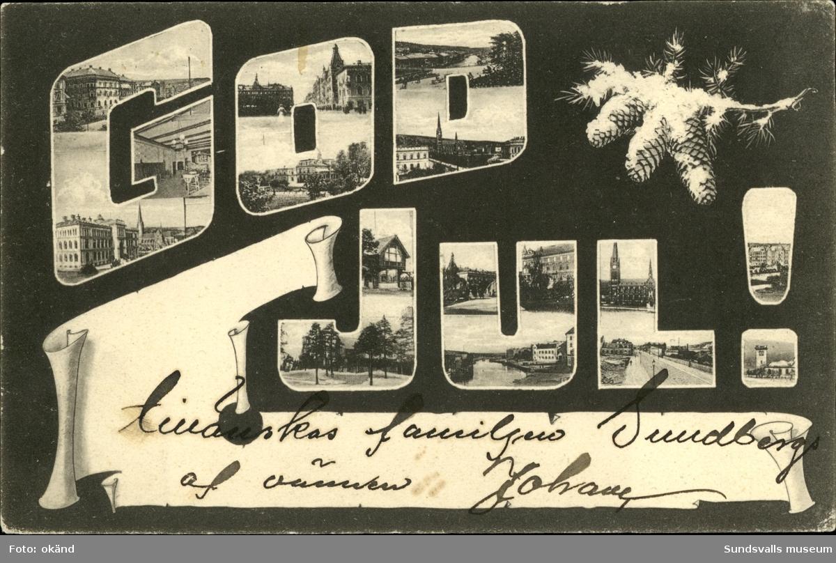 Vykort med texten God Jul i vilken det finns topografiska foton över Sundsvall.