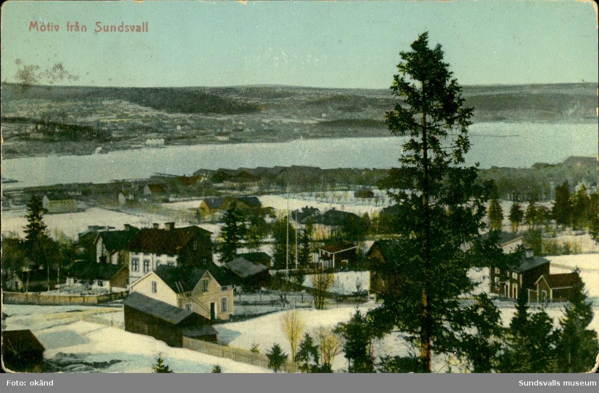 Vykort med vintermotiv över Sundsvall.