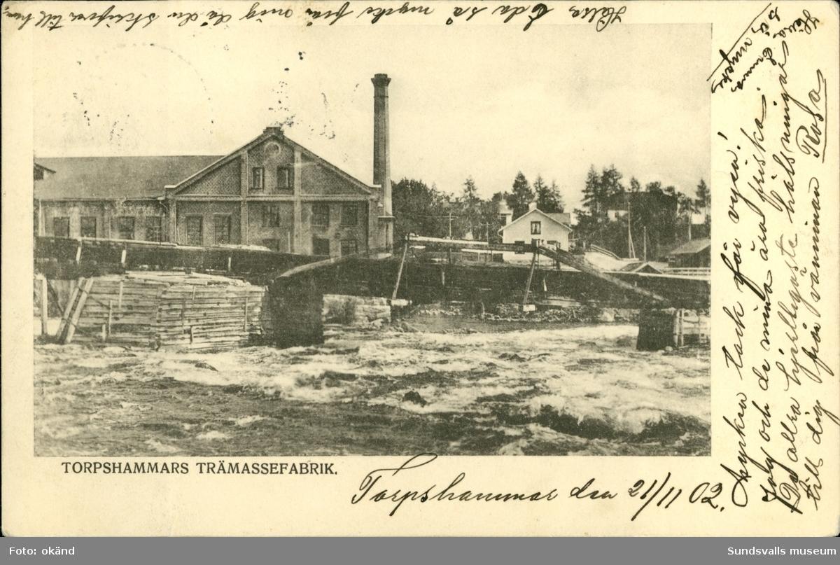 Vykort med motiv över trämassafabriken i Torpshammar.