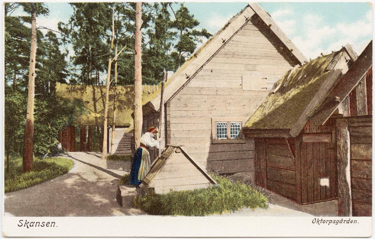 Vykort med motiv från Skansen. Oktorpsgården