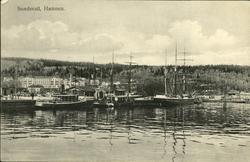 Vykort med motiv över passagerarbåtar och segelfartyg vid ha
