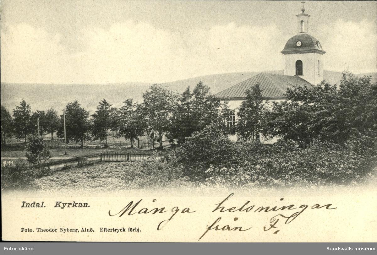 Vykort med motiv över Indals kyrka.
