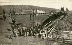 Vykort med motiv över skadorna efter översvämningarna 1919.