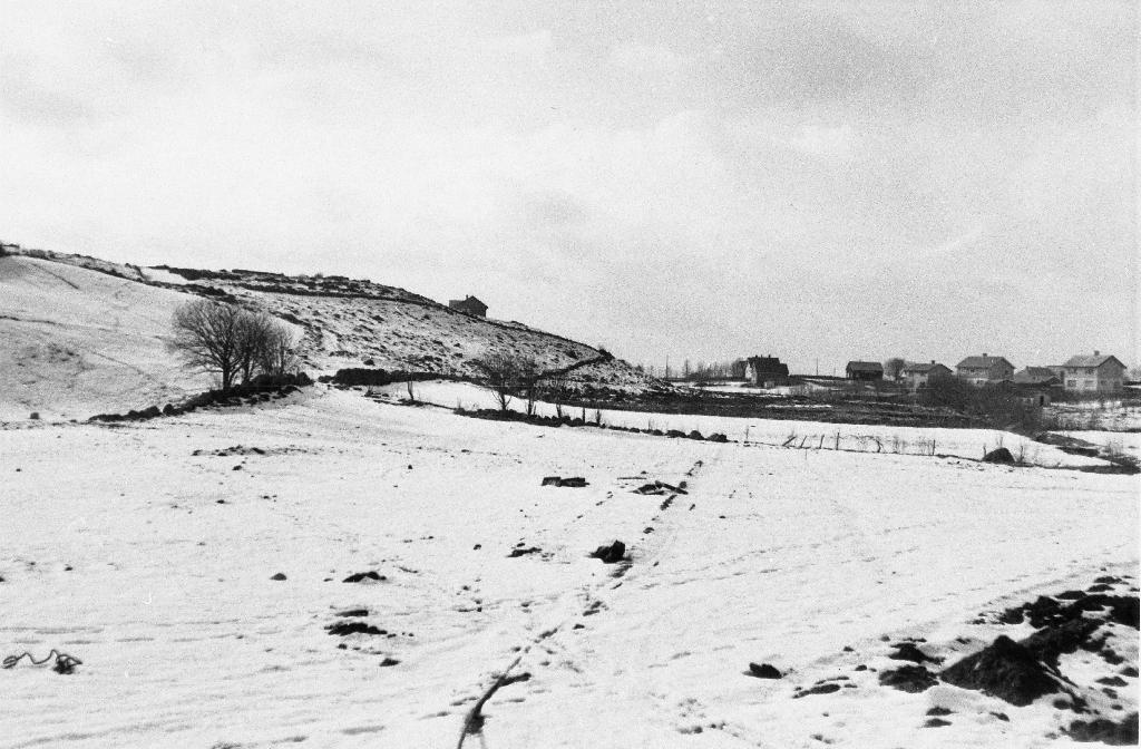 Amatørfoto frå Rossaland med Elisberget i bakgrunnen til venstre. Marka i framgrunnen er nå (1990) byggefeltet Tunhagen.