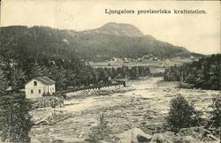 Vykort med motiv över Ljungafors provisoriska kraftstation.