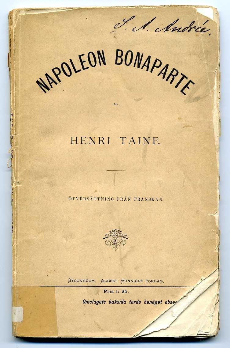 """Häftad bok på 110 sidor med trasig rygg och nötta kanter: """"Napoleon Bonaparte"""" av Henri Taine.  Enstaka marginalmarkeringar."""
