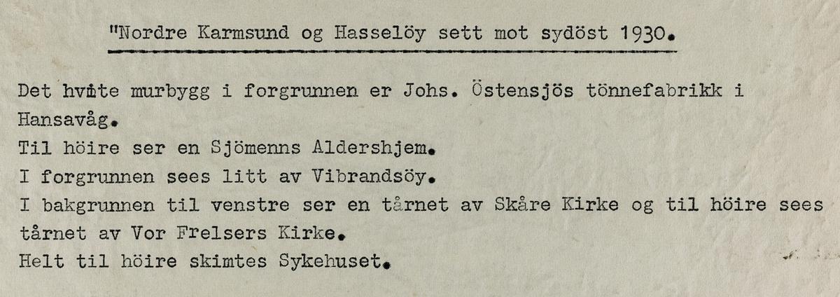 Nordre Karmsund og Hasseløy sett mot sydøst, 1930.