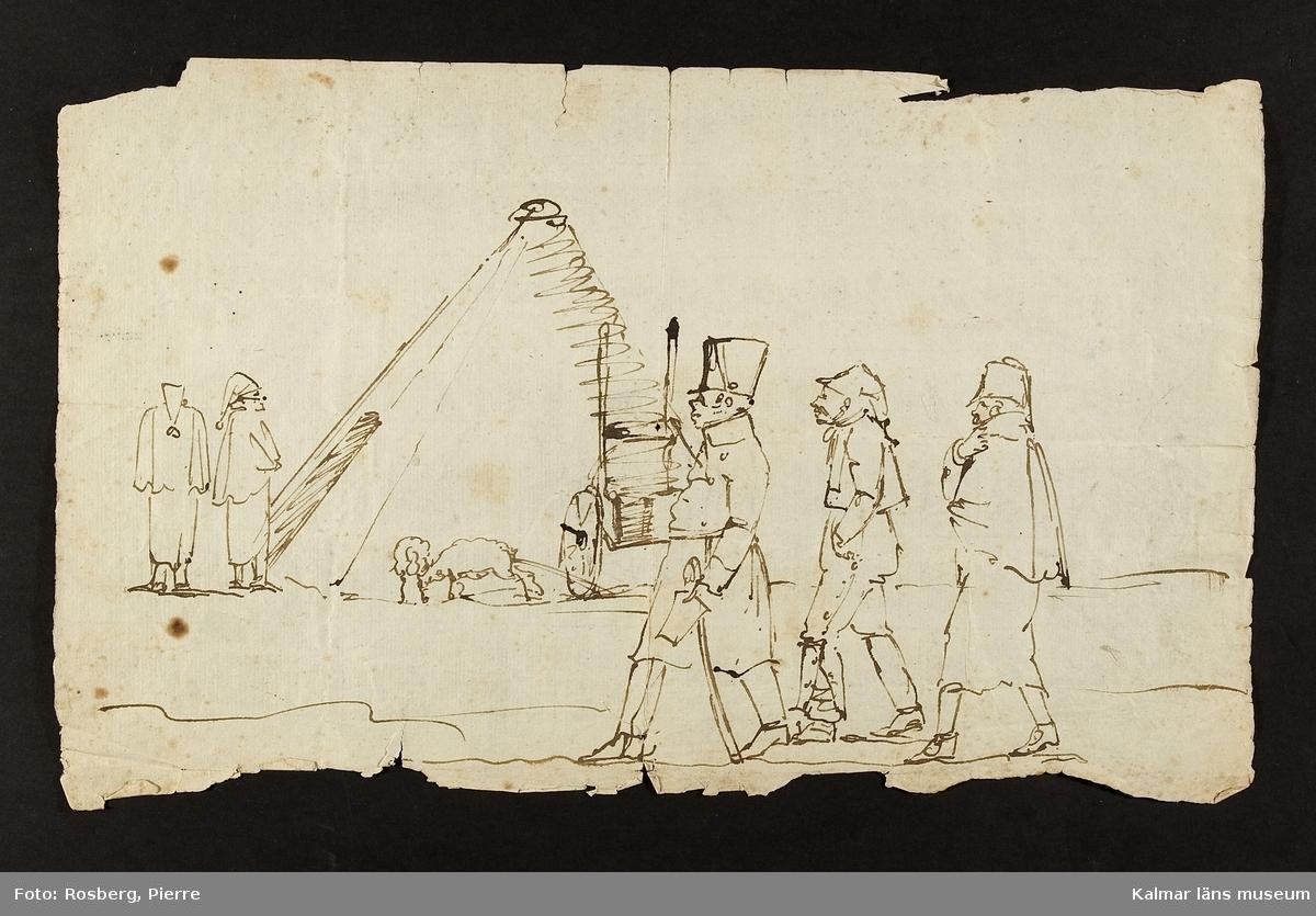 I bakgrunden ett tält, får mm, i förgrunden tre gående män. Uniformsklädd.