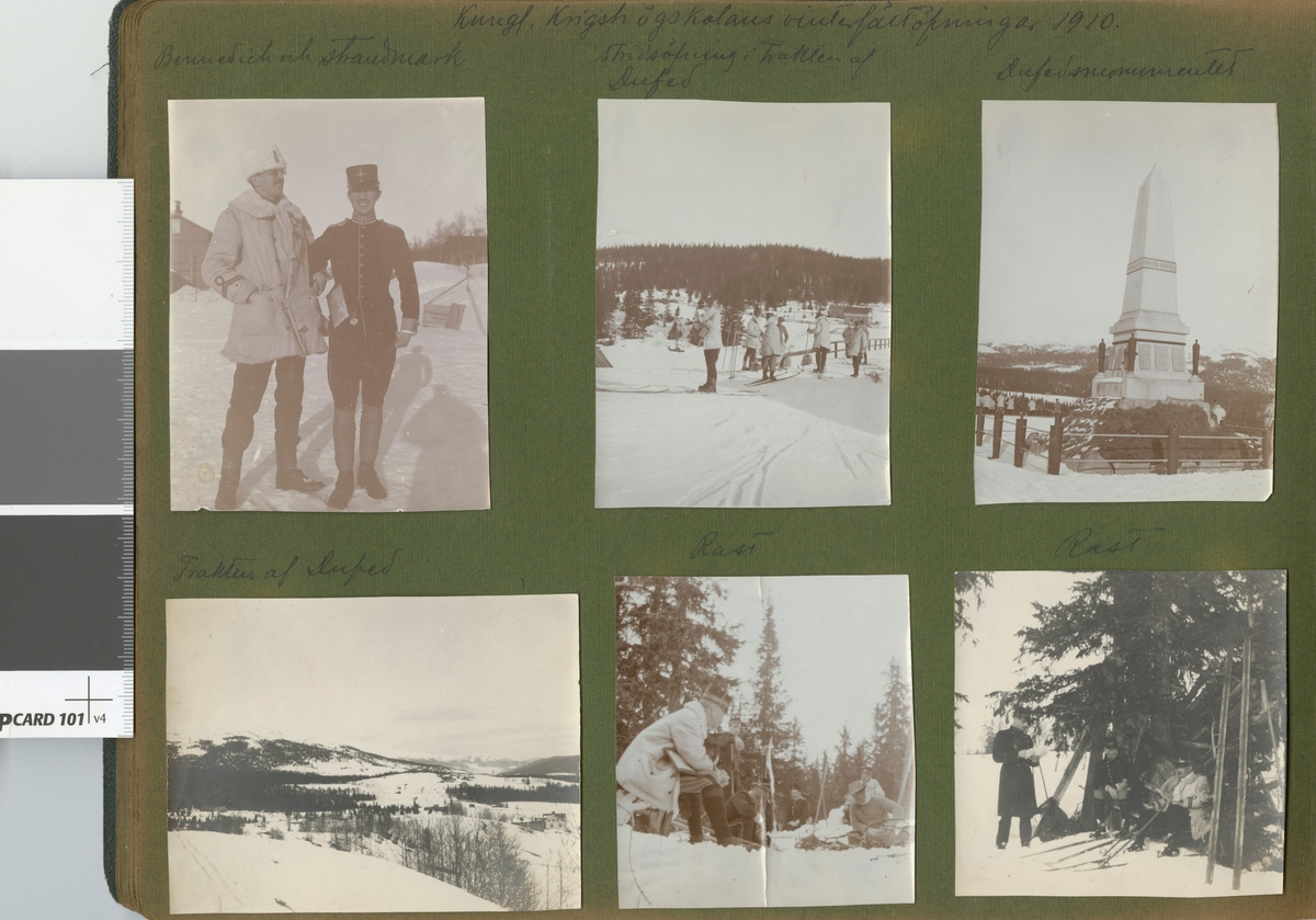 "Text i fotoalbum: ""Kungl. Krigshögskolans vinterfältövningar 1910. Dufedsmonumentet""."