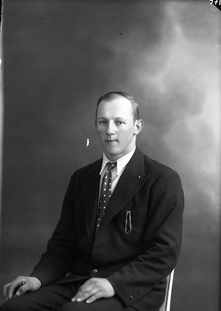 Porträtt av Arvid Gustafsson från Jonstorp. En ung man i kostym, svagt randig skjorta och prickig slips.