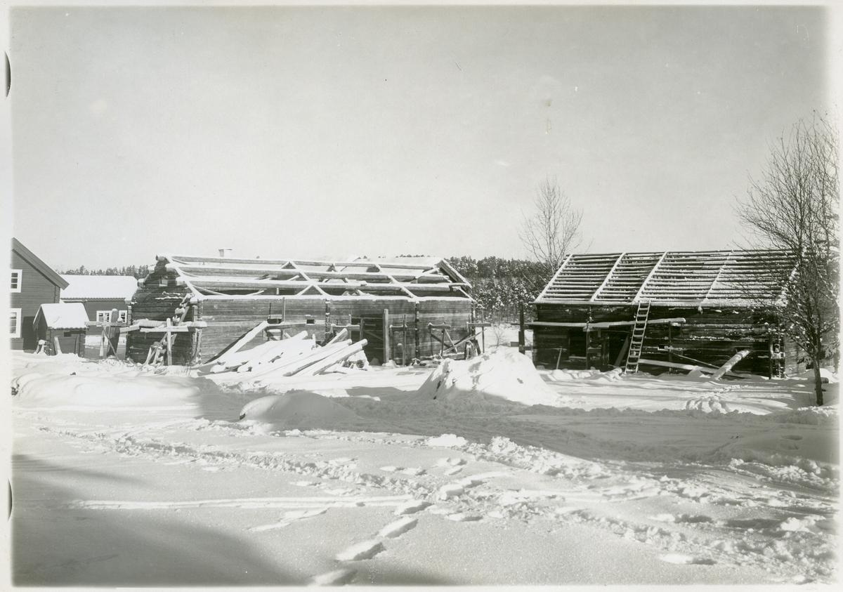 Ramnäs sn, Surahammar. Uppmontering av stall med portlider från Nordanö på Vallby friluftsmuseum i Västerås, 1929.