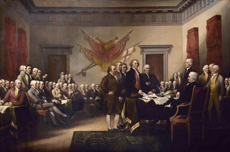 The Declaration of Independence av John Trumbull (1756 – 1843). Malt 1786 – 1820. Versjonen eid av Yale University Art Gallery. En forstørret versjon henger i US Capitol. (Foto/Photo)