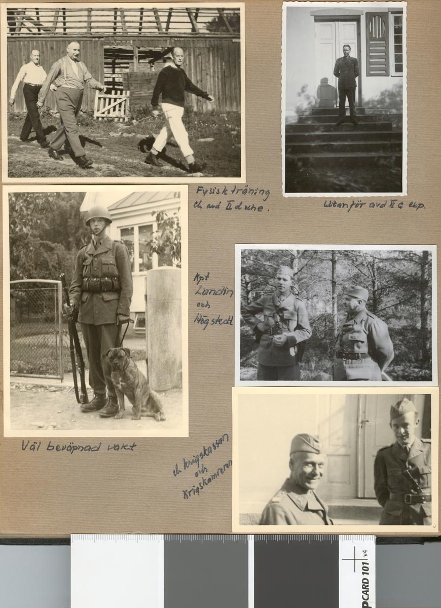 """Text i fotoalbum: """"Beredskapstjänst april-okt 1940 vid Fältpost. Utanför avd II c exp""""."""