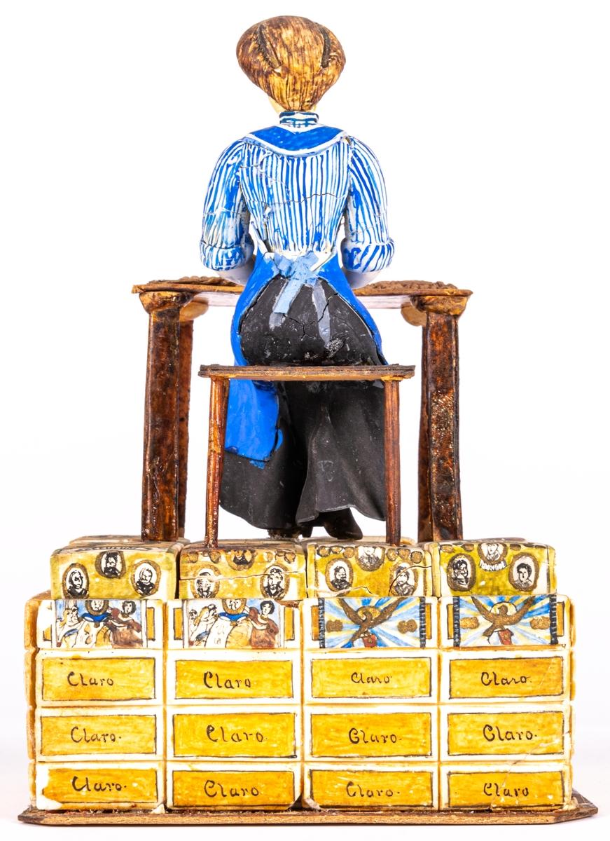 Modell av sockerpasta och papper, dekormålad. Mycket skadat skick. Modellens bas byggd av tändsticksaskar och papp, klädd med små tobakspaket tillverkade av sockerpasta.  Katalog: Modell, visande cigarettillverkning för hand, föreställande kvinna på underlag av små pappaskar.  Katalogkort: Modell av gips och trä, målad, visande cigarrtillverkning för hand av en kvinna i blått förkläde, sittande vid ett bord. Det hela är placerat på ett underlag av hopklistrade små pappaskar målade så som olika cigarrförpackningar.