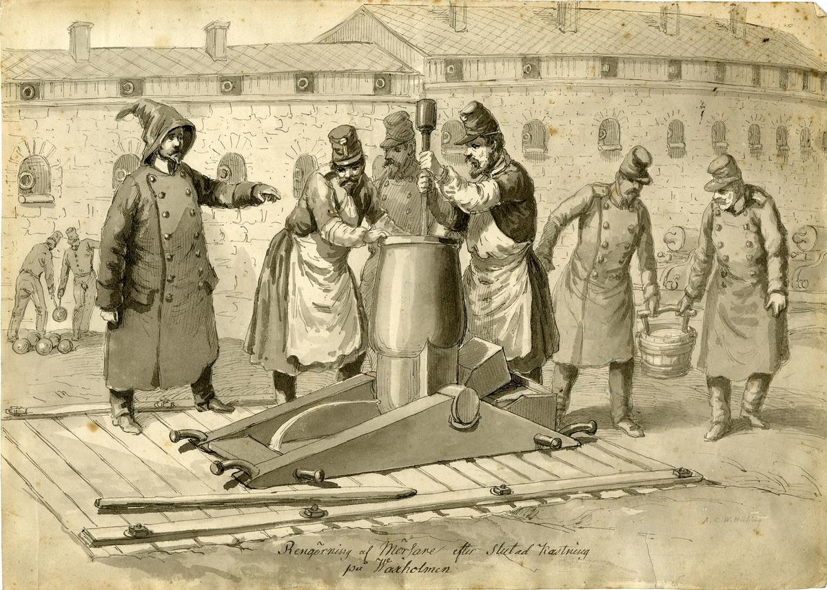 """Grupp M I. Teckning av A.C Wetterling föreställande """"Rengöring av mörsare vid Vaxholms fästning"""". Nederst på teckningen text: """"Rengöring af Mörsare efter Slutad Kastning på Waxholmen."""""""