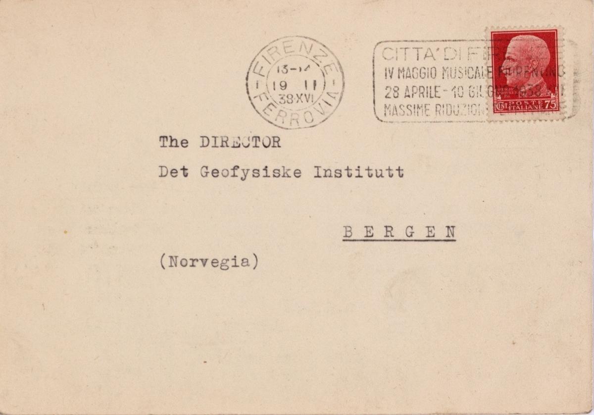 Takkekort-samling vedr. polarskipet MAUD. Takkekort fra R. Osservatorio Astrofisico Arcetri - Firenze  (med frimerke) i forbindelse med at de har mottatt publikasjon vedr. MAUD sin polekspedisjon i 1918-1925.