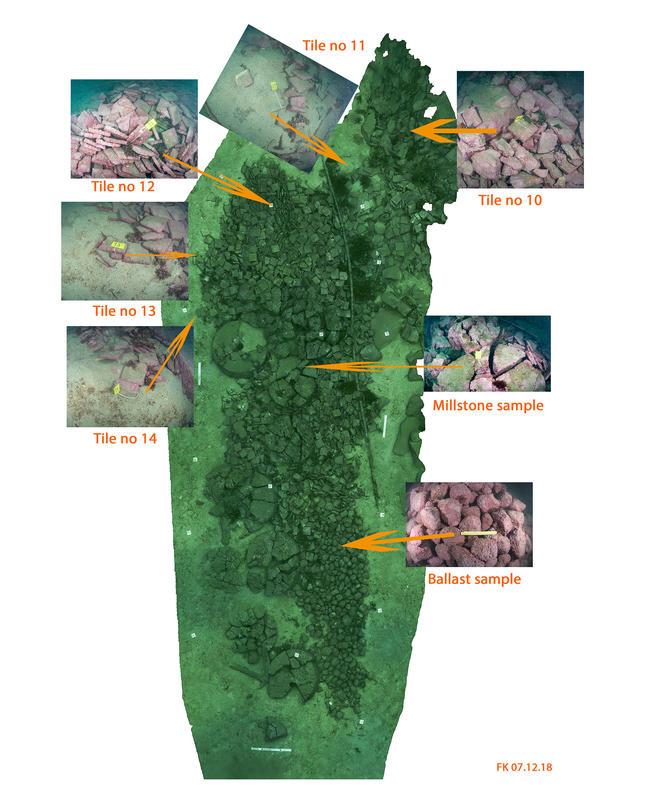 Bilde av skipsvrak med last på sjøbunnen. Flere forstørrede utsnitt fra bildet viser ballaststeiner, kvernstein og flis, hvorfra prøver ble tatt ut. (Foto/Photo)