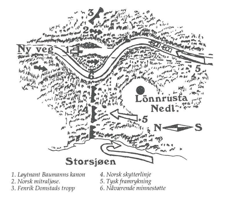 Kart over trefninga ved Lønnrusten i Rendalen. Fra Grandum: Fra felttog til frigjøring i Nord-Østerdalen.