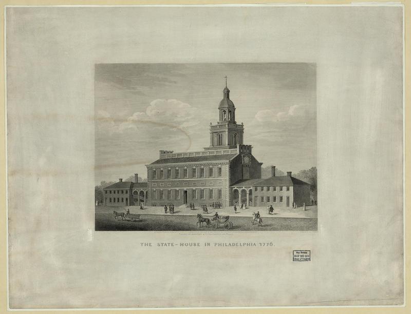 Independence Hall i Philadelphia. Gravering av J. Serz etter tegning fra 1776. Library of Congress