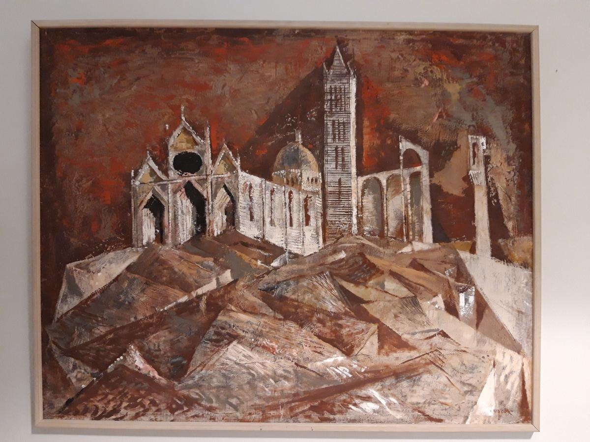 Målning, olja. Domen i Siena av Jan Brazda, tjeckisk-svensk glaskonstnär och scenograf.