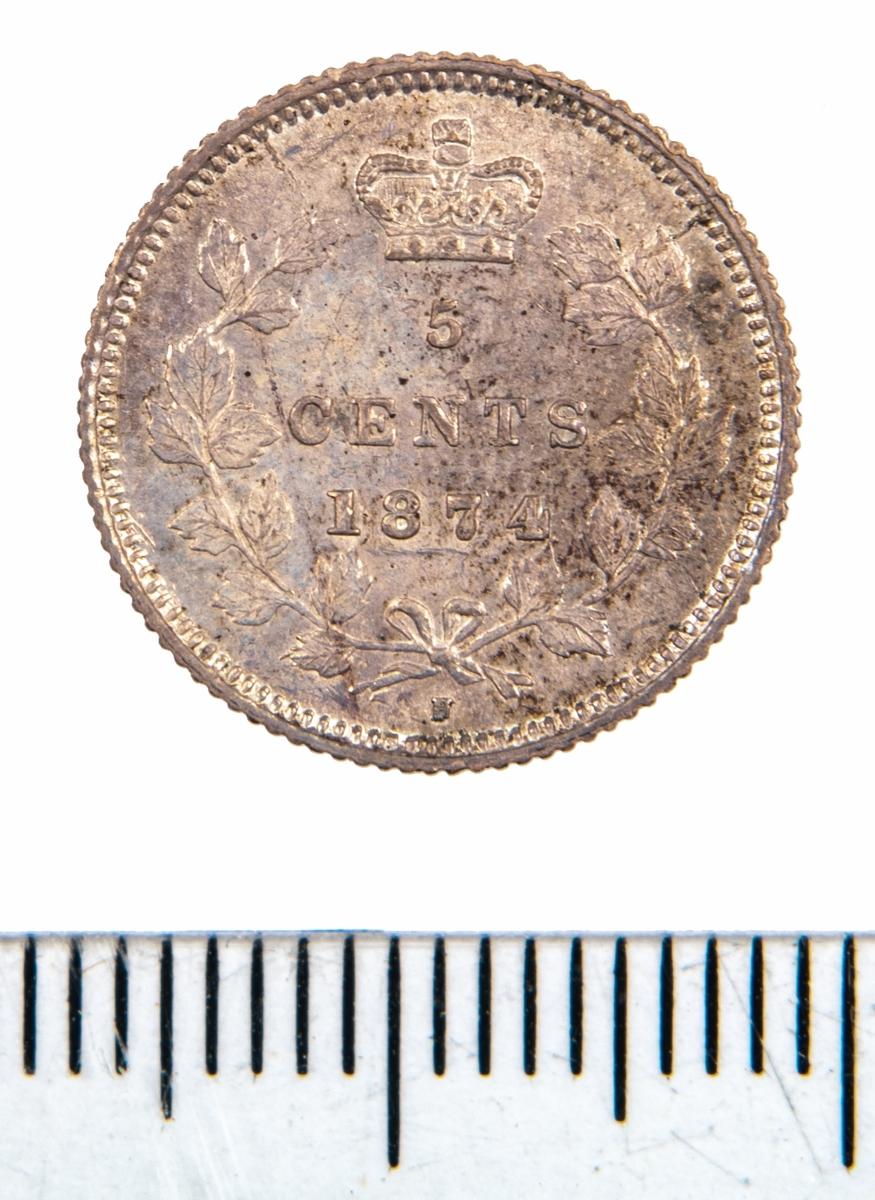 Mynt, Canada, 1874, 5 Cents.