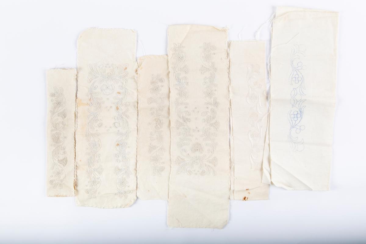 6 stoffprøver til skjørt til Akershusbunad. nr. 4.a: 52 x 75, 4.b:54x100, 4.c: 54x76, 4.d:54x72, 4.e: 52x74, 4.f: 53x73, 4.g: 54x82, 4.h: 71x81  4.i: Prøver på forslag til broderi i hvitsøm til krage og armlinning på skjorte.