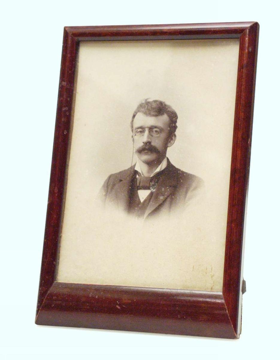 Portrett av en ung mann. Han er kledd i bredt halstørkle (nærmest kalvekryss) og pins-nez. Bildet er tonet ut i kanten.
