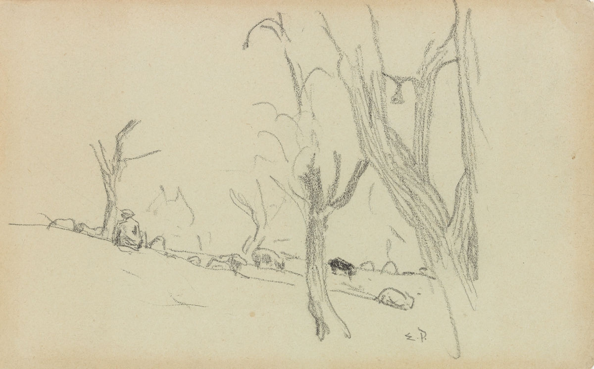 Landskap med dyr på beite [Tegning]