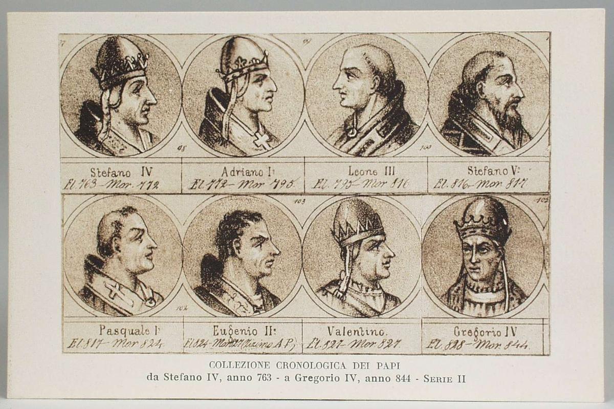 Portretter av paver i kronologisk rekkefølge fra år  763 til 1285.