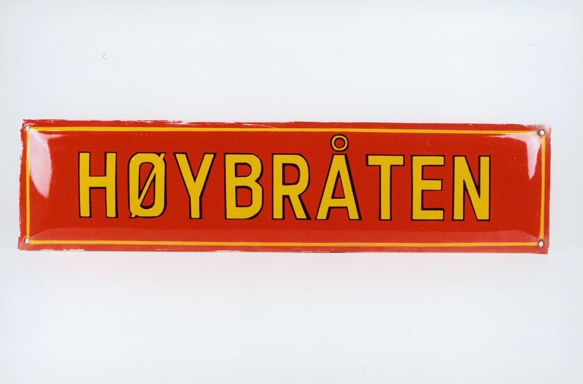 Postmuseet, gjenstander, skilt, stedskilt, stedsnavn, Høybråten.