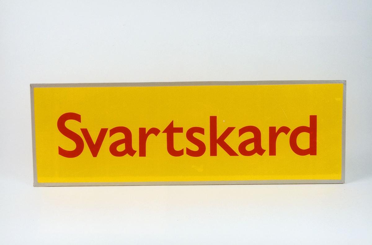 Postmuseet, gjenstander, skilt, stedskilt, stedsnavn, Svartskard.