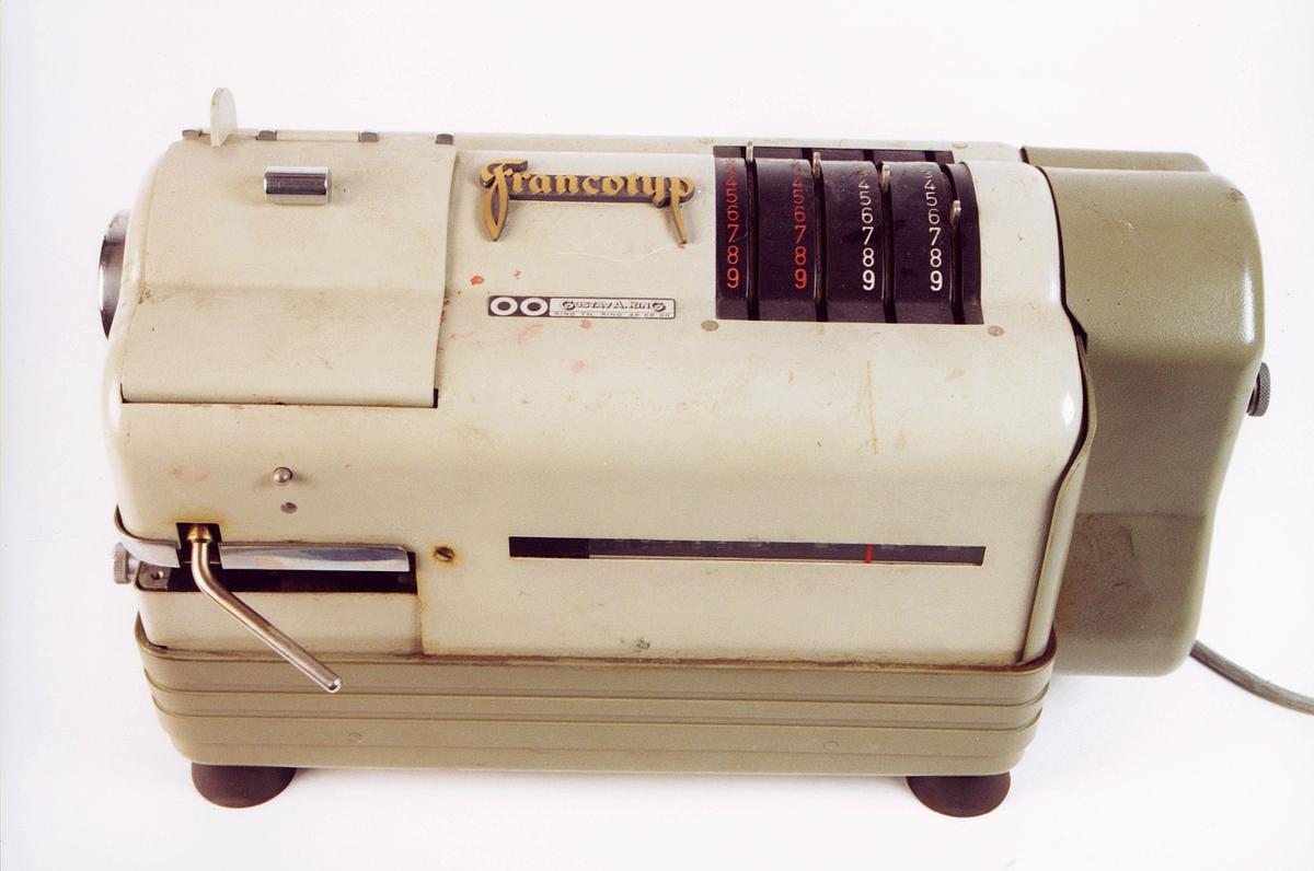 postmuseet, gjenstander, maskin, Francotyp frankeringsmaskin, nr. 3668