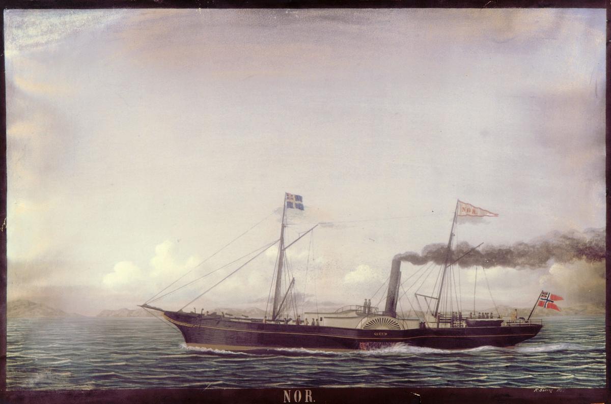 postmuseet, kunst, transport, båt, F. Sørvig, Nor, hjuldamper i sjøen med svart røyk fra skorsteinen, vimpel, svensk og norsk unionsflagg, motivet finnes også på CD-rom PRO1, bilde nr 109