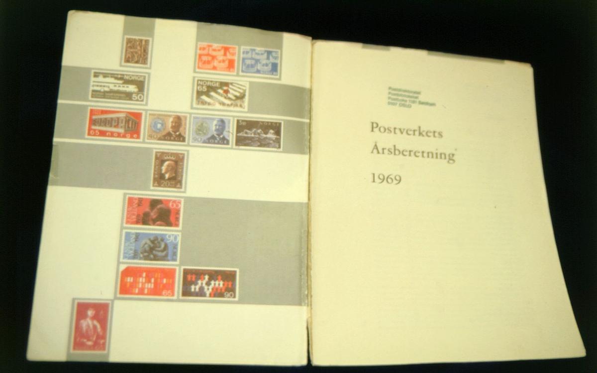 postmuseet, Kirkegata 20, biblioteket, samlinger, bøker, Postverkets årsberetning 1969,  to sider