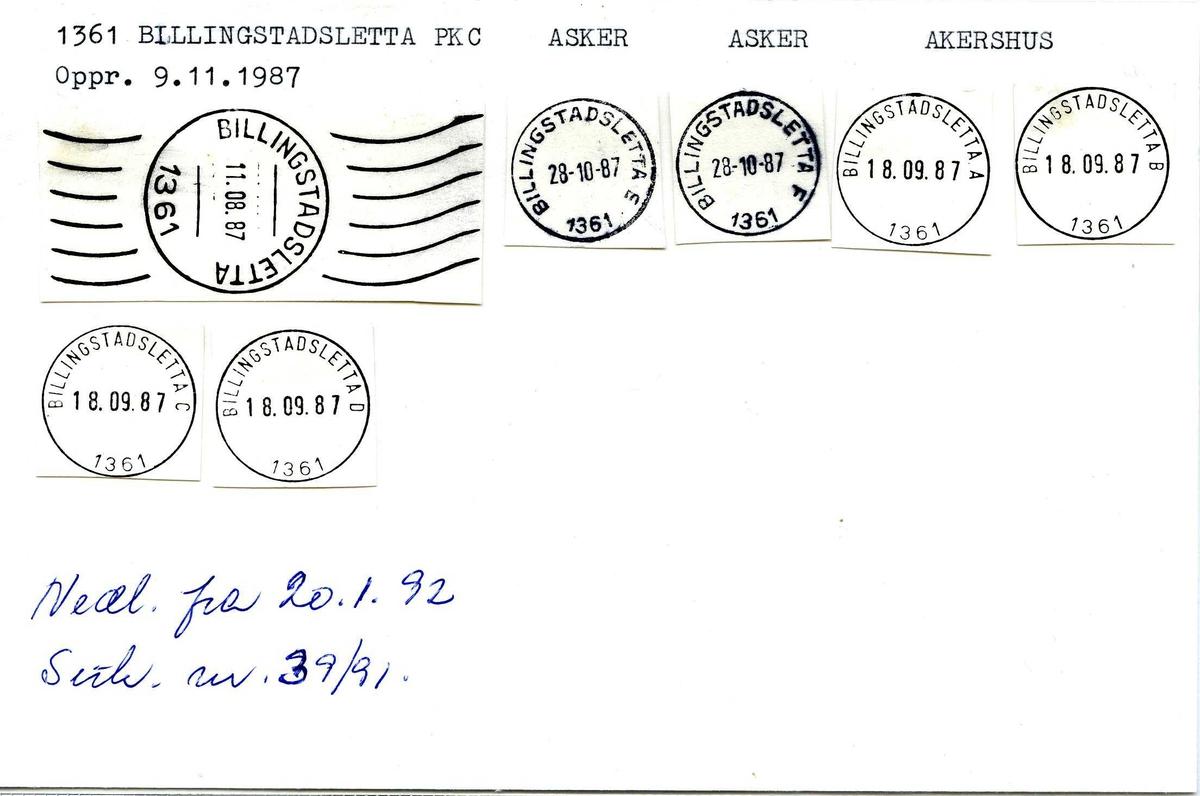 Stempelkatalog, 1361 Billingstadsletta Pk. C, Asker postkontor, Asker kommune, Akershus fylke. Opprettet 09.11.1987.