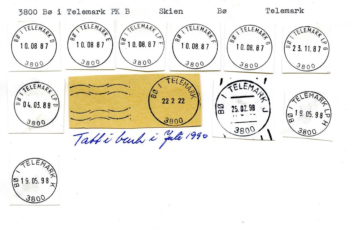 Stempelkatalog,3800 Bø i Telemark, Skien postk., Bø i Telemark kom., Telemark (Bilruten Bø-Ytre Vinje)