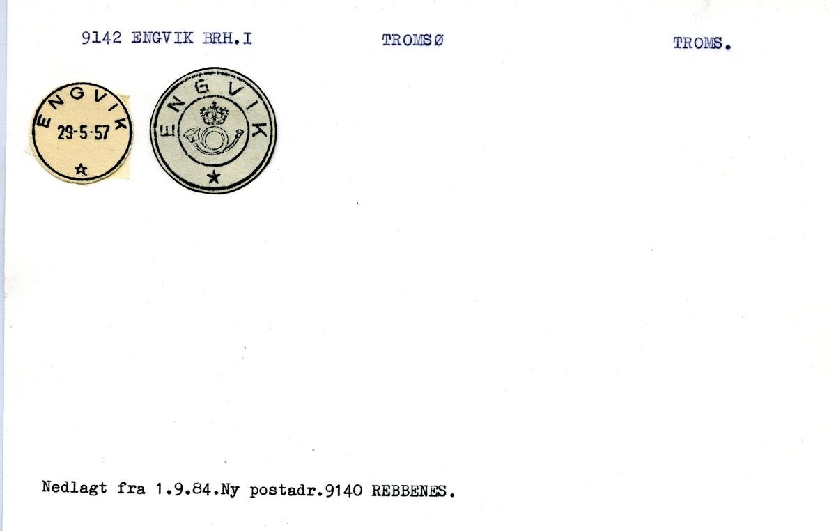 Stempelkatalog. 9142 Engvik Brh. I. Tromsø postkontor. Tromsø kommune. Troms fylke.