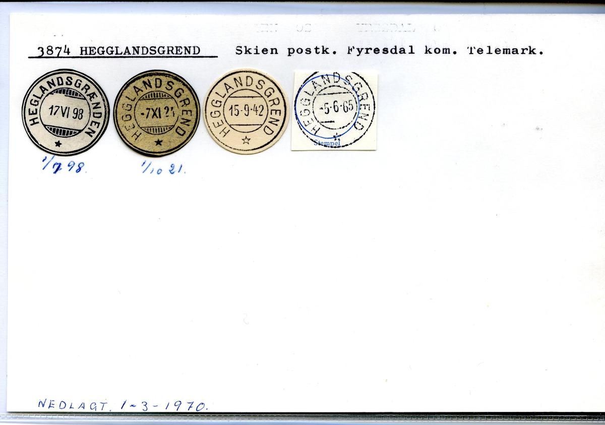 Stempelkatalog. 3874 Hegglandsgrend, Skien postk., Fyresdal komm., Telemark (Heglandsgrænden)