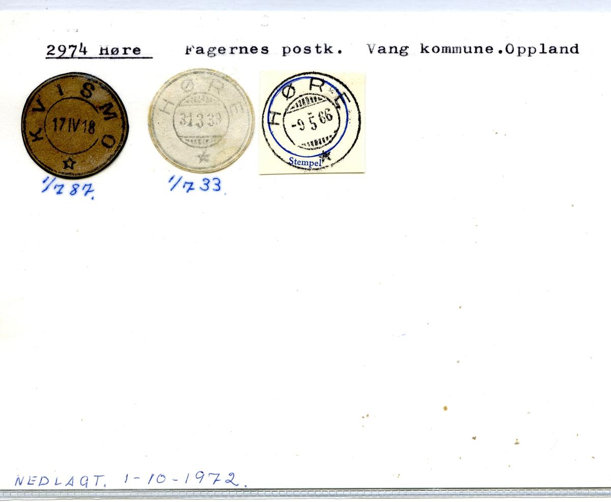 Stempelkatalog, Kvismo. 2974 Høre, Fagernes postkontor, Vang kommune, Oppland fylke.