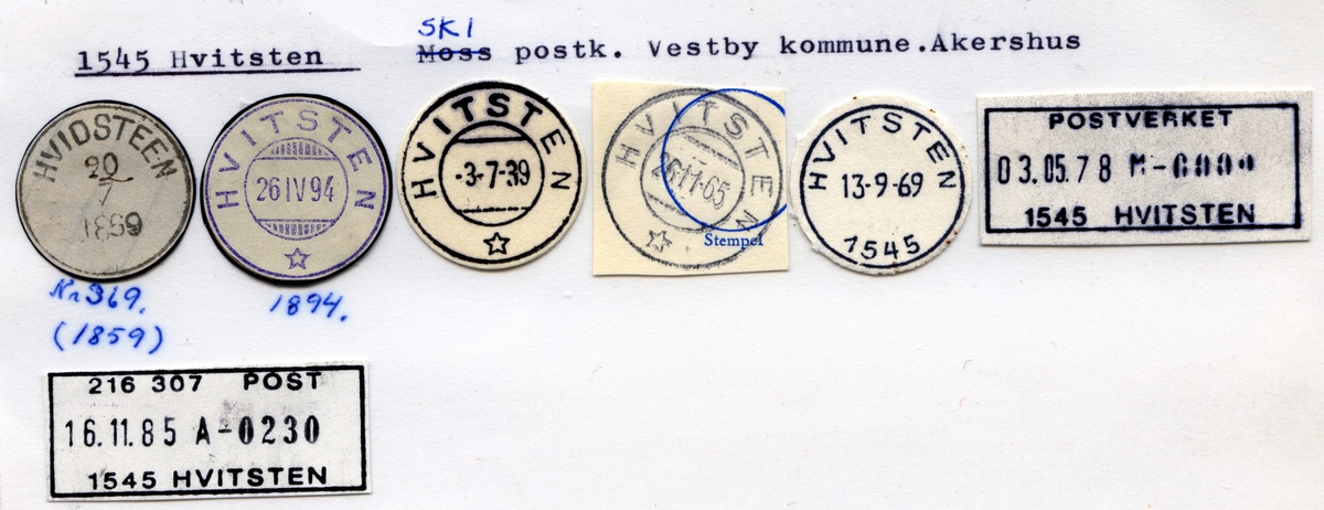 Stempelkatalog 1545 Hvitsten, Ski postk, Vestby kommune, Akershus