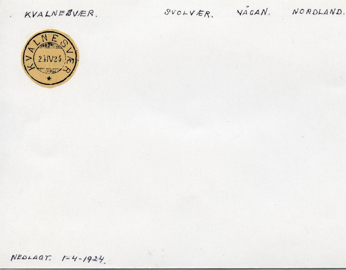 Stempelkatalog Kvalnesvær, Svolvær postkontor, Vågan kommune, Nordland