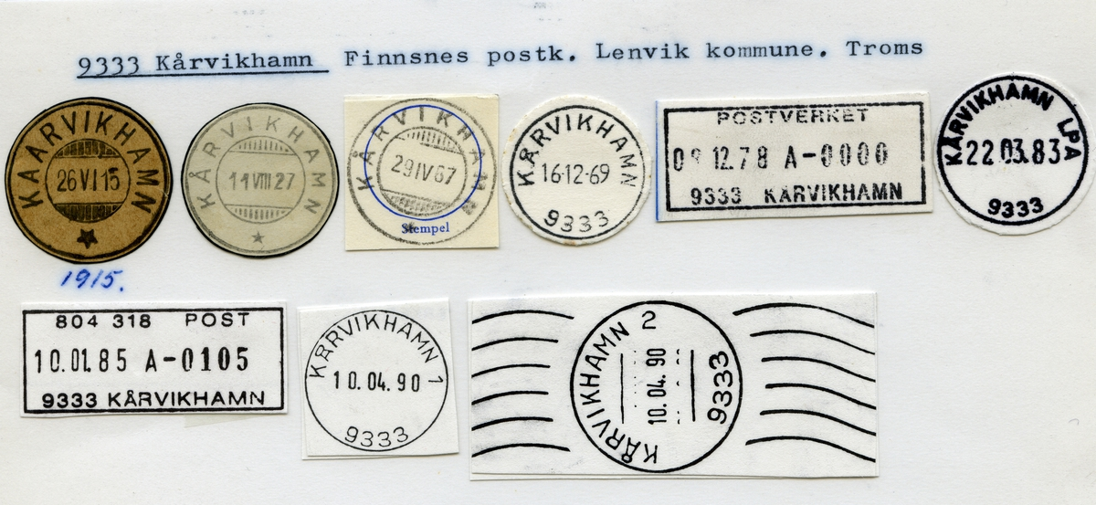 Stempelkatalog 9333 Kårvikhamn (Kaarvikhamn), Finnsnes, Lenvik, Troms