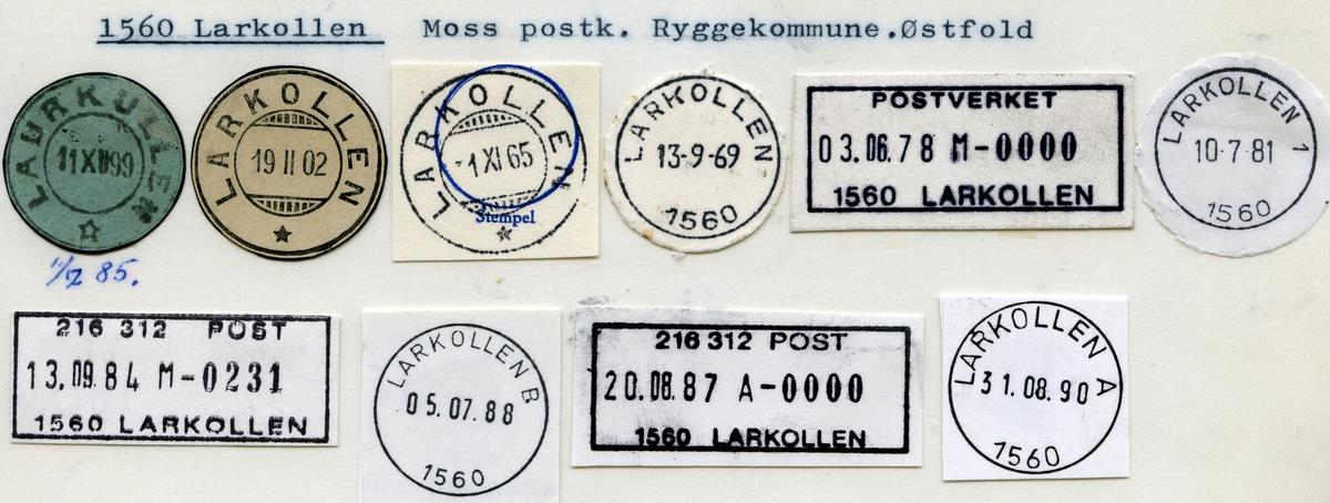 Stempelkatalog 1560 Larkollen, Moss, Rygge, Østfold
