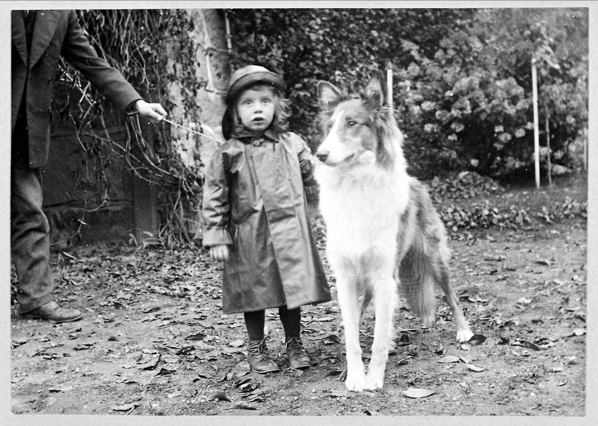 Barn, hund, regnfrakk