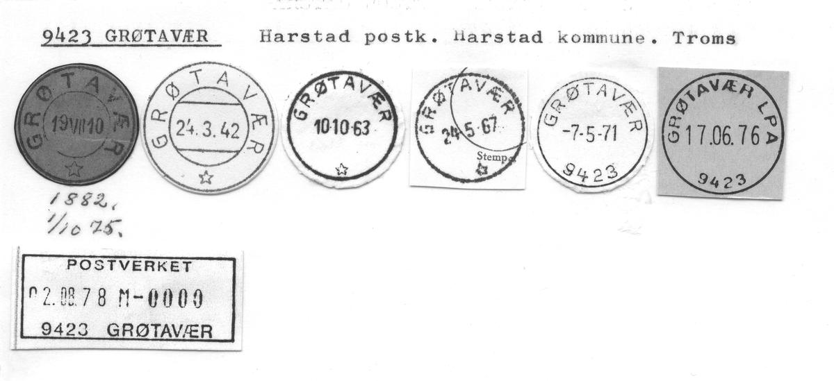 Stempelkatalog 9423 Grøtavær, Harstad, Troms